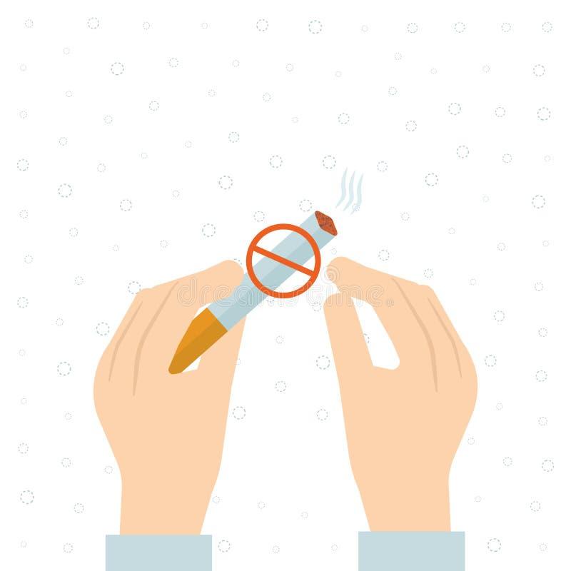Hören Sie auf zu rauchen, die menschlichen Hände, welche die Zigarette brechen stock abbildung