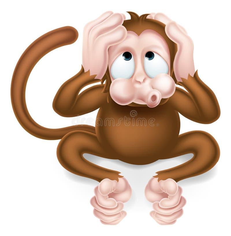 Hören Sie keinen schlechte Karikatur-klugen Affen stock abbildung