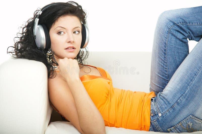 Hören Sie Musik stockfotos