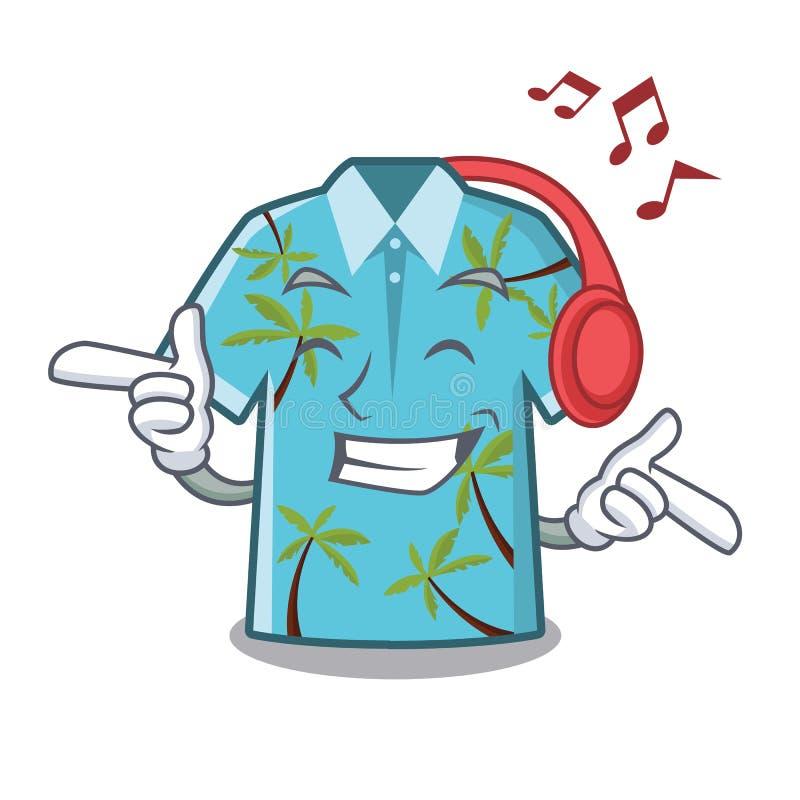 Hörende Musikhawaiihemden gefaltet im Karikaturwandschrank vektor abbildung