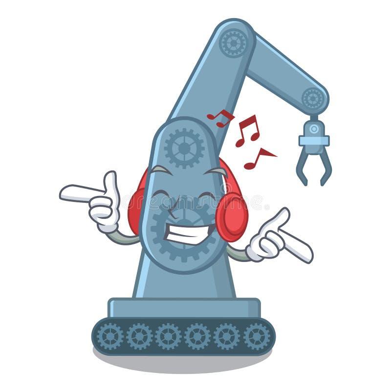 Hörender mechatronic Roboterarm der Musik über Karikaturtabelle vektor abbildung
