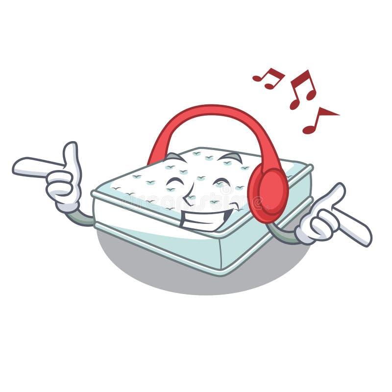 Hörendes Musikkarikatur-Matratzengemacht, um zu schlafen lizenzfreie abbildung