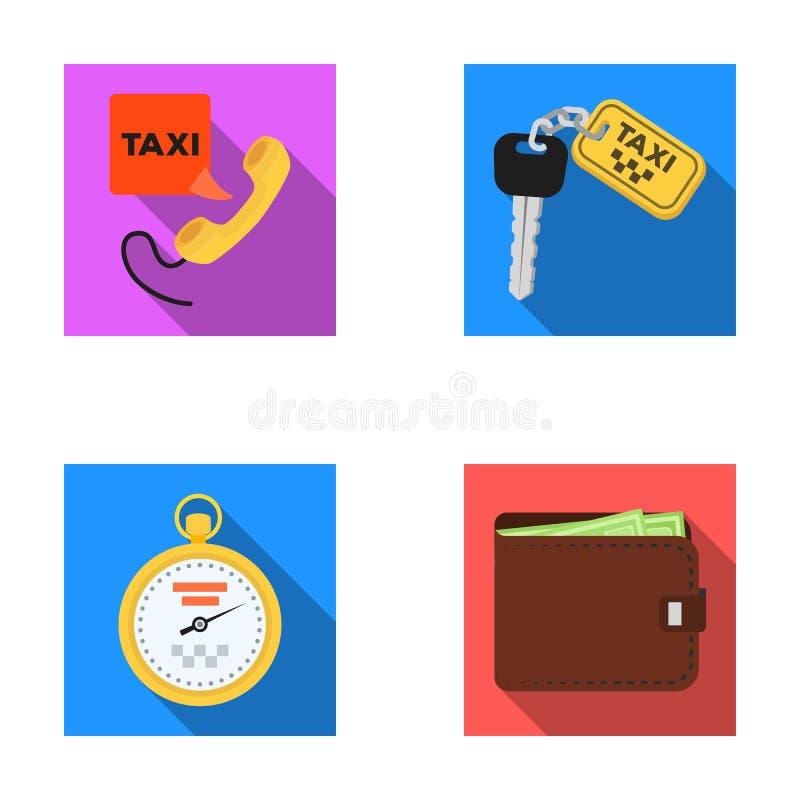 Hörer mit der Aufschrift eines Taxis, Autoschlüssel mit einer Schlüsseluhrkette, eine Stoppuhr mit einem Fahrpreise, ein Geldbeut lizenzfreie abbildung