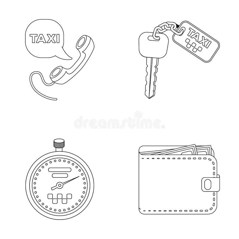 Hörer mit der Aufschrift eines Taxis, Autoschlüssel mit einer Schlüsseluhrkette, eine Stoppuhr mit einem Fahrpreise, ein Geldbeut vektor abbildung