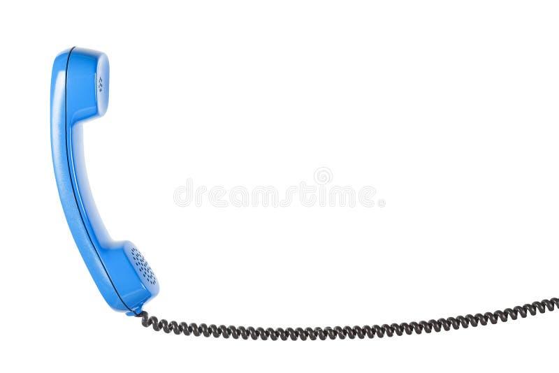 Hörer vom Überlandleitungstelefon auf dem lokalisierten weißen Hintergrund stockbild