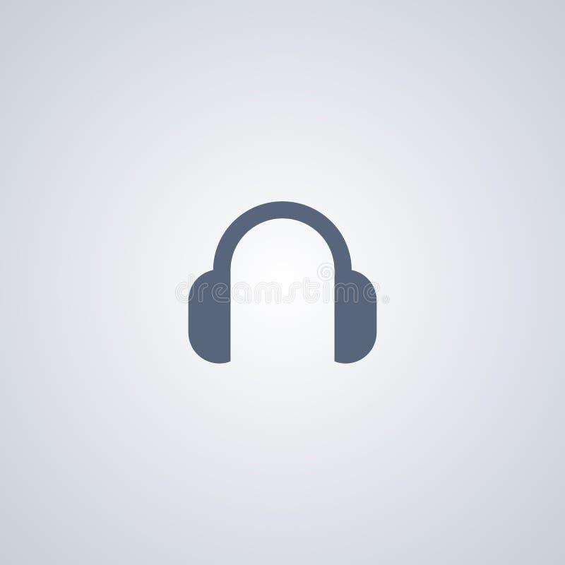 Hörlurar Headphone, bästa plan symbol för vektor stock illustrationer
