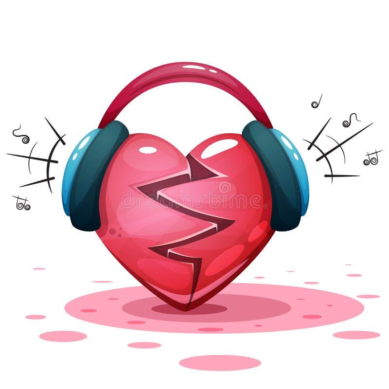 Hörlurar hjärta, förälskelse - tecknad filmillusration stock illustrationer