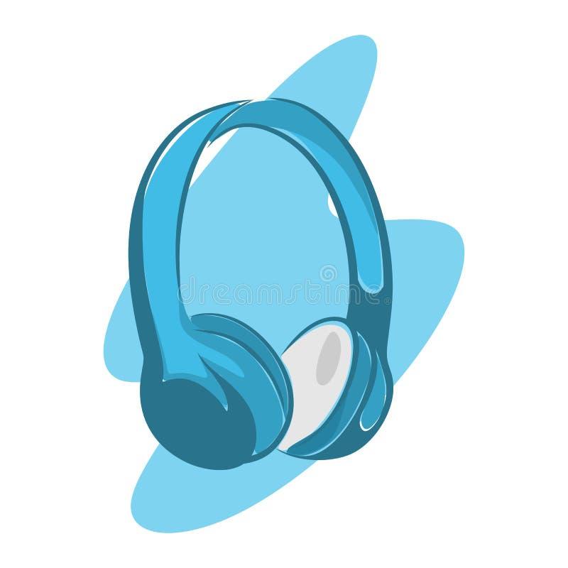 hörlurar i blått stock illustrationer