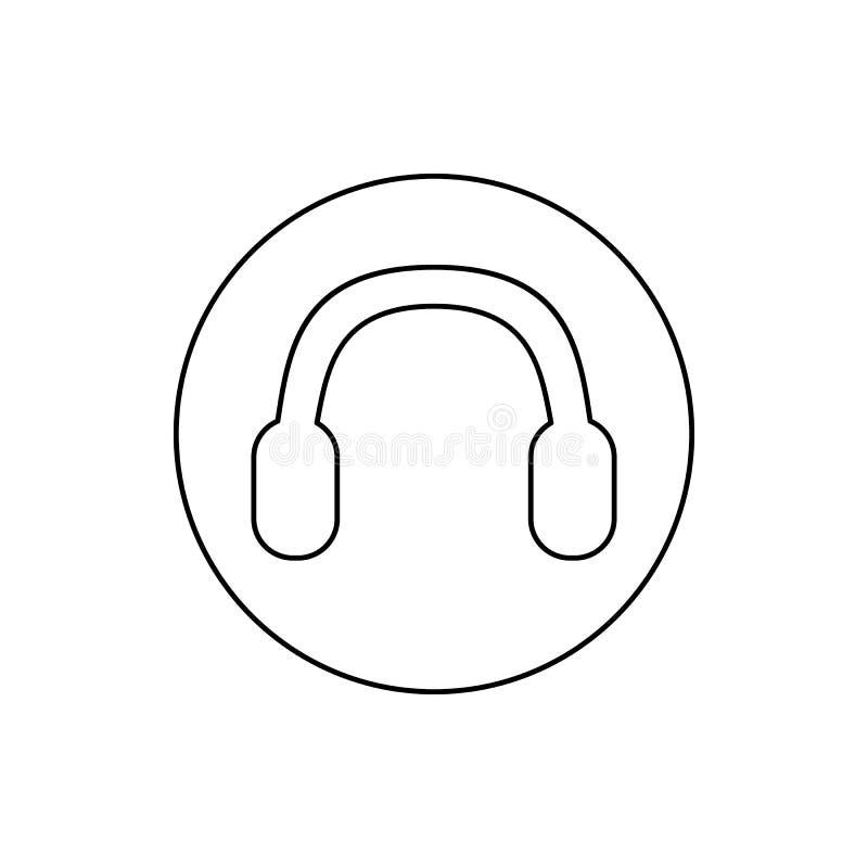 hörlurar i en cirkelsymbol Beståndsdel av rengöringsduken för mobilt begrepp och rengöringsdukappssymbol Tunn linje symbol för we royaltyfri illustrationer