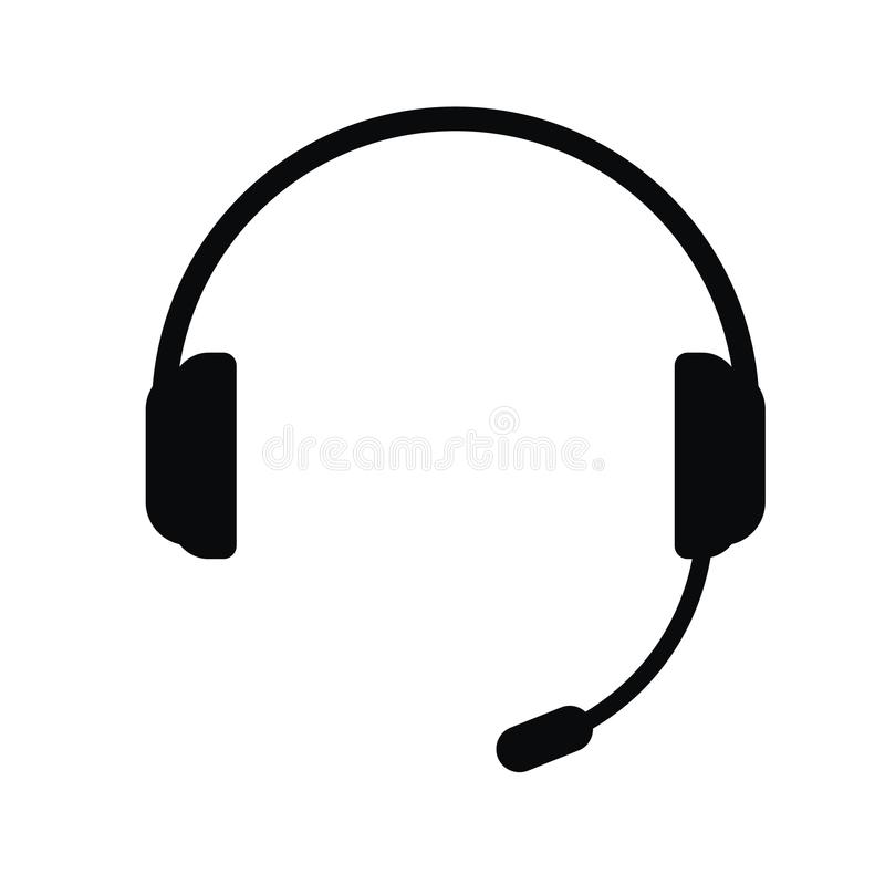 Hörlurar med en mikrofon, vektorsymbol vektor illustrationer