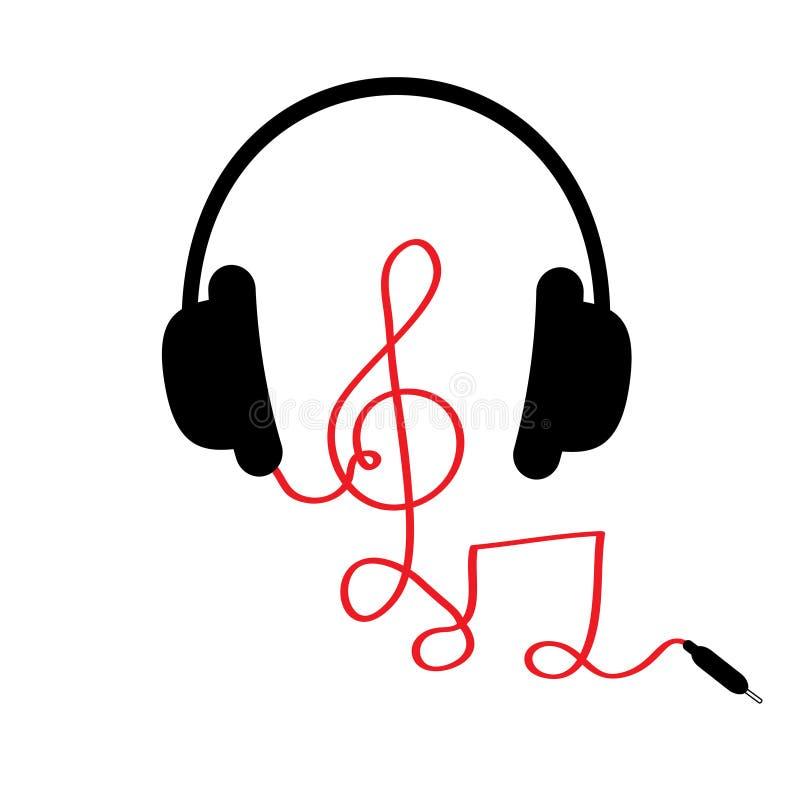 Hörlurar med G-klav, noterar röd kabel och uttrycker musik Kort Plan design Vit bakgrund royaltyfri illustrationer