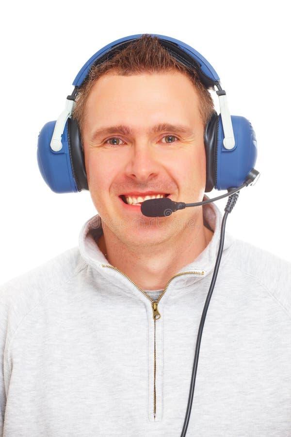 hörlurar med mikrofonpilot arkivbild