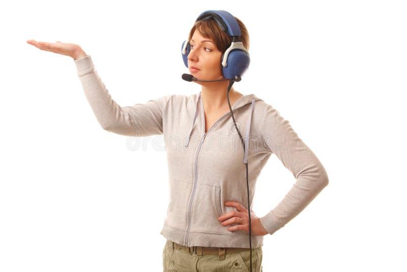 hörlurar med mikrofonpilot arkivbilder