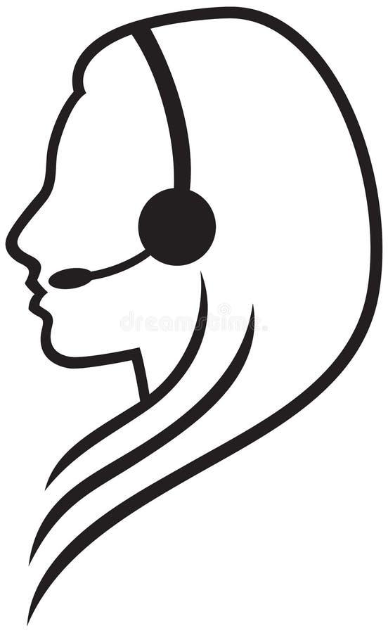 Hörlurar med mikrofonsymbol royaltyfri illustrationer