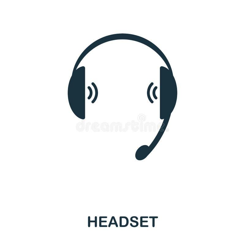 Hörlurar med mikrofonsymbol Linje stilsymbolsdesign Ui Illustration av hörlurar med mikrofonsymbolen pictogram som isoleras på vi vektor illustrationer