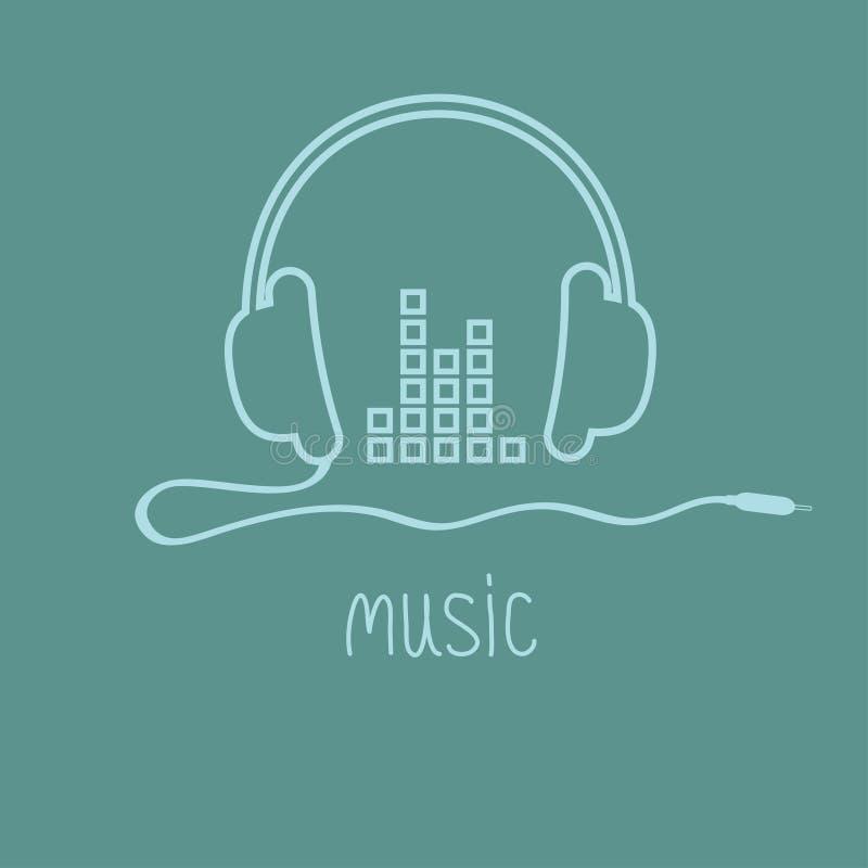 Hörlurar med symbolen för översikt för kort för bakgrund för kabel- och utjämnareordmusik Plan design stock illustrationer