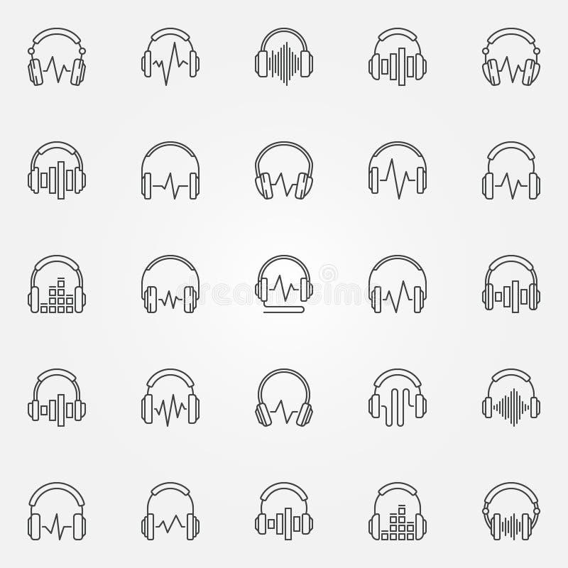 Hörlurar med symboler för översikten för vektorn för den solida vågen ställde in royaltyfri illustrationer
