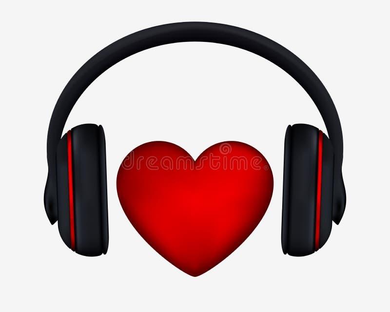 Hörlurar och hjärta Begrepp för förälskelse som lyssnar till musik royaltyfri illustrationer