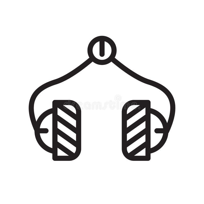 Hörlurarsymbolsvektorn som isoleras på vit bakgrund, hörlurar undertecknar, fodrar symbol eller linjär beståndsdeldesign i översi vektor illustrationer