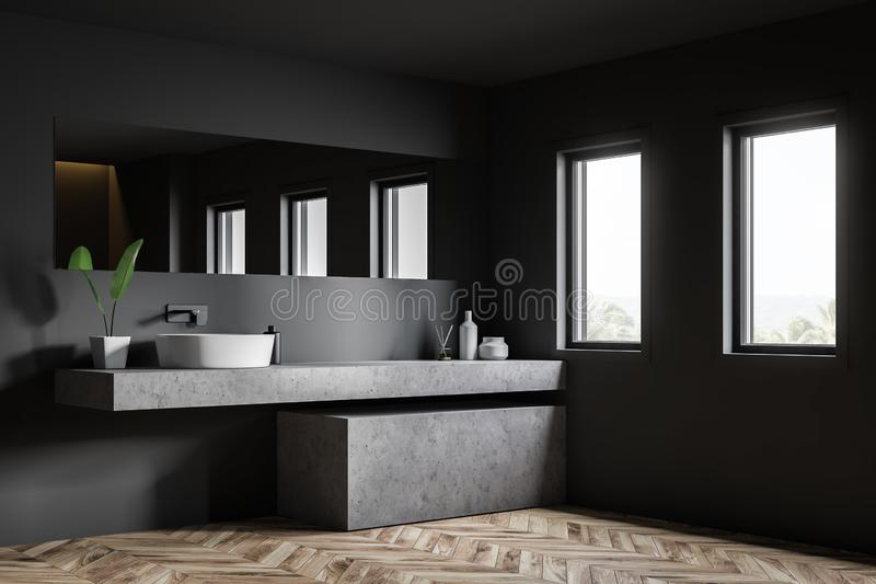 Hörn av det gråa badrummet med vasken royaltyfri illustrationer