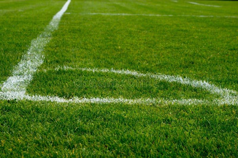 Hörn av ett fotbollfält arkivfoto