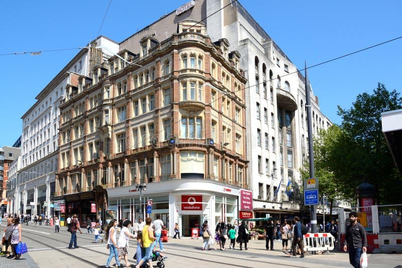 Hörn av Ny Gata och Korporation gata, Birmingham royaltyfri bild
