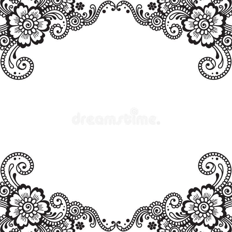 Hörn för blommavektorprydnad vektor illustrationer