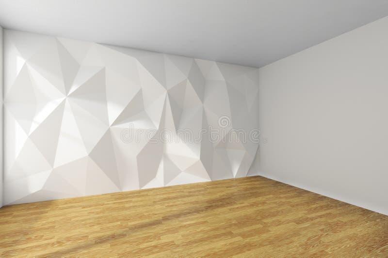 Hörn för vitt rum med den rufsade till väggen och träparkettgolvet royaltyfri illustrationer