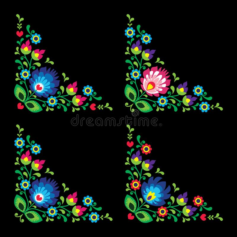Hörn gränsar den polska blom- folkkonstvektormodellen - Wzory Lowickie, traditionella designer vektor illustrationer