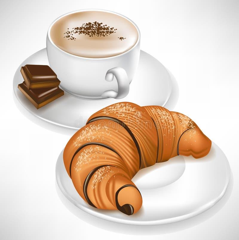 Hörnchen auf Platte und Kaffeetasse vektor abbildung