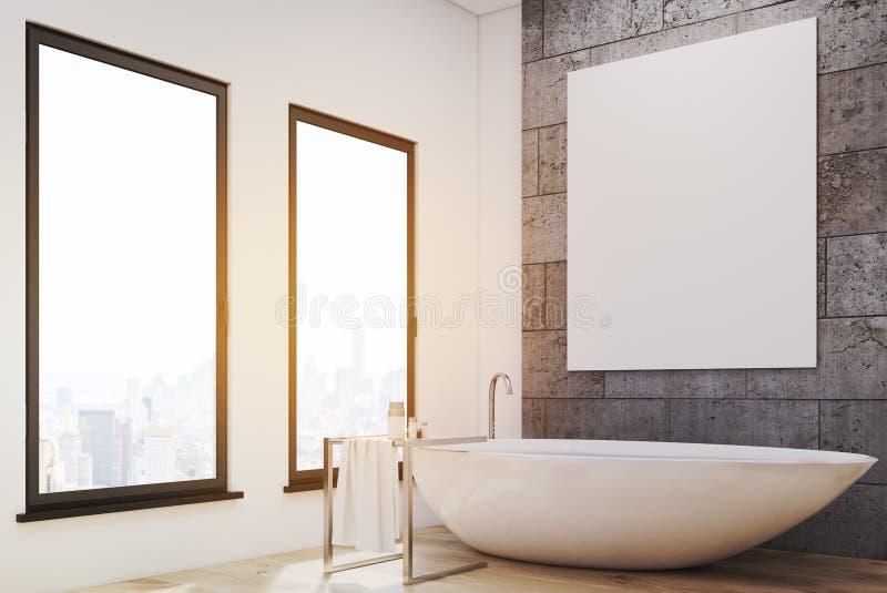 Hörnet av badrummet med vit badar vektor illustrationer