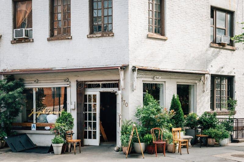 Hörnet av dungen & Waverly, i West Village, Manhattan, New York City royaltyfri fotografi