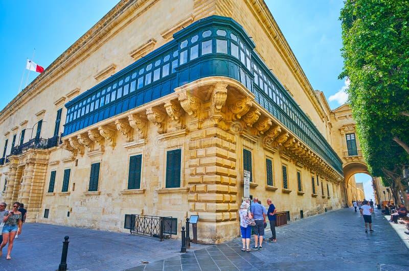 Hörnet av slotten för Grandmaster` s i Valletta, Malta royaltyfri bild