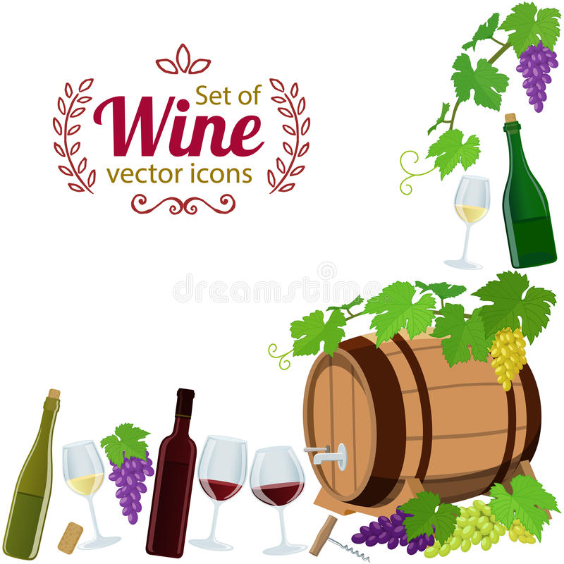 Hörnram av vinsymboler royaltyfri illustrationer