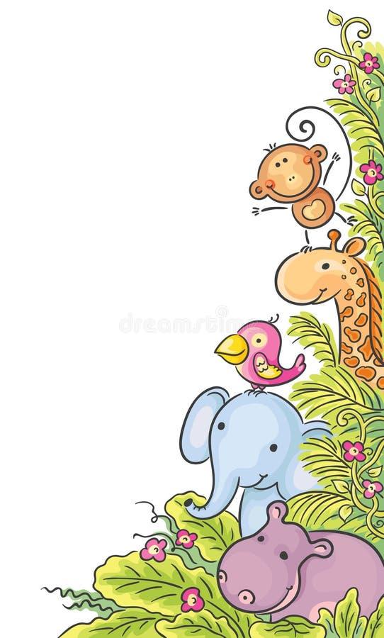 Hörnram med afrikanska djur stock illustrationer