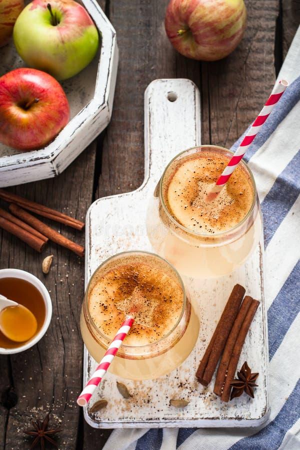 Höstäppelcidercoctail med kryddor och äppleskivor Selektivt fokusera royaltyfri foto