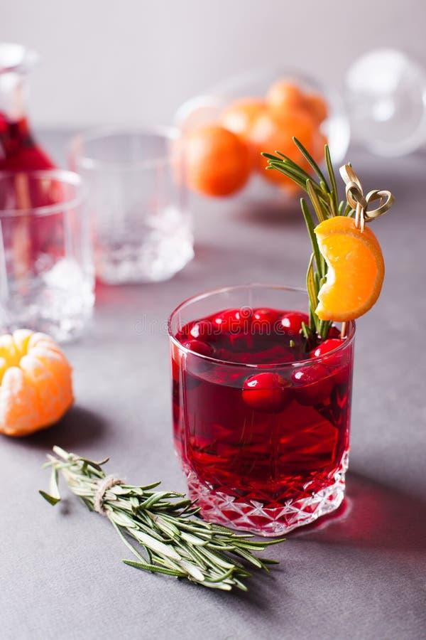 Höst- eller vintervärmedrink - funderat vin, toddy eller varma tranbärmors med citruns och rosmarin, alternativväg av portionen royaltyfri foto