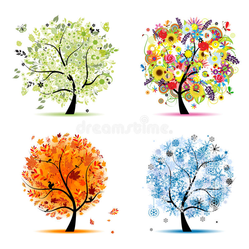 höst för fjädersommar för fyra säsonger vinter för tree royaltyfri illustrationer