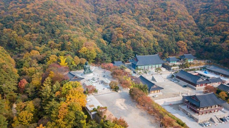 Höst för flyg- sikt av statyn av Buddha i templet, Seoul Korea arkivbilder
