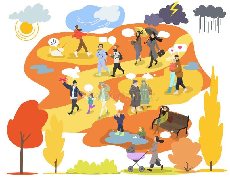 Höst i parkera, folk som går, vektorillustrationuppsättning, höstväder, livsstil, säsong, fritid royaltyfri illustrationer