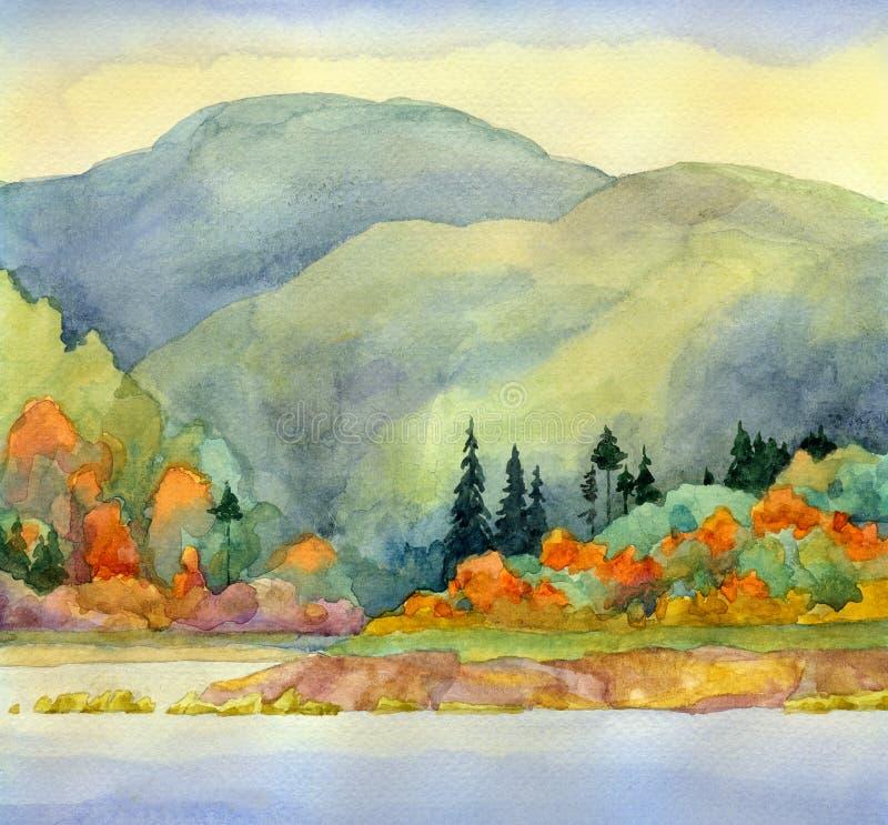 Höst lake royaltyfri illustrationer