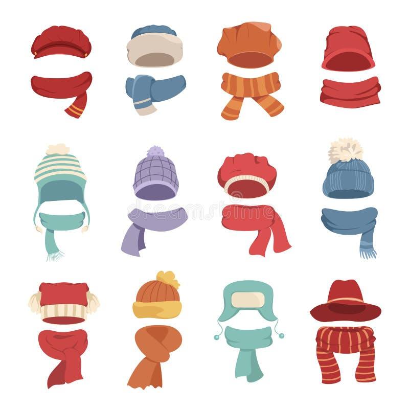 Höst- och vinterhattar med en varm halsduk royaltyfri illustrationer