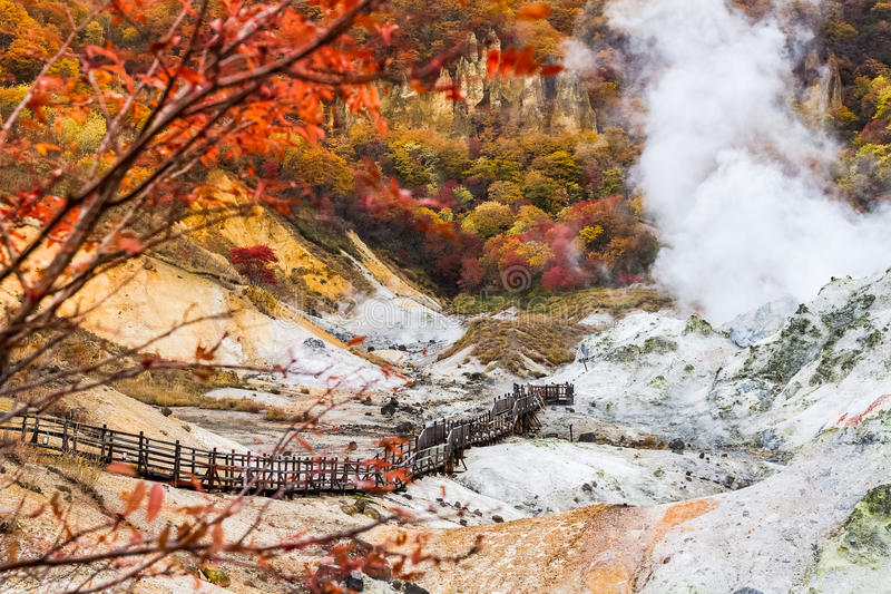 Höst på den Jigokudani helvetedalen, Hokkaido, Japan royaltyfri fotografi
