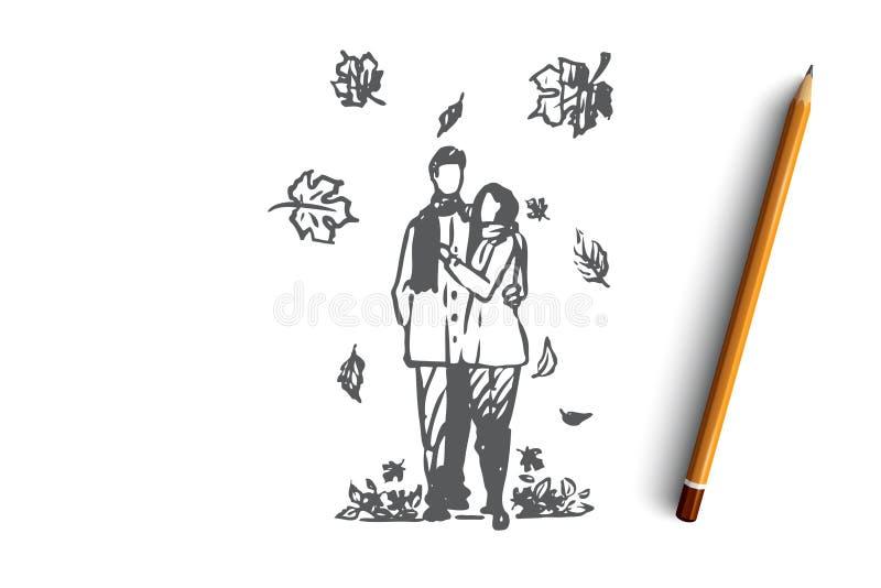 Höst par, förälskelse, nedgång, romantiskt begrepp Hand dragen isolerad vektor royaltyfri illustrationer