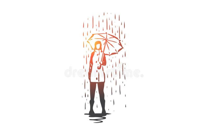 Höst regn, paraply, säsong, väderbegrepp Hand dragen isolerad vektor vektor illustrationer
