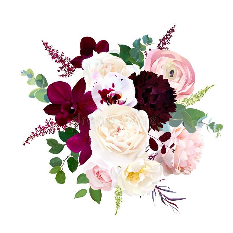 Höst som gifta sig gruppen av blommor Isolerat och redigerbart royaltyfri illustrationer