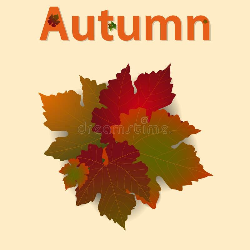 Höstbakgrund med blad och dekorerad text arkivbilder
