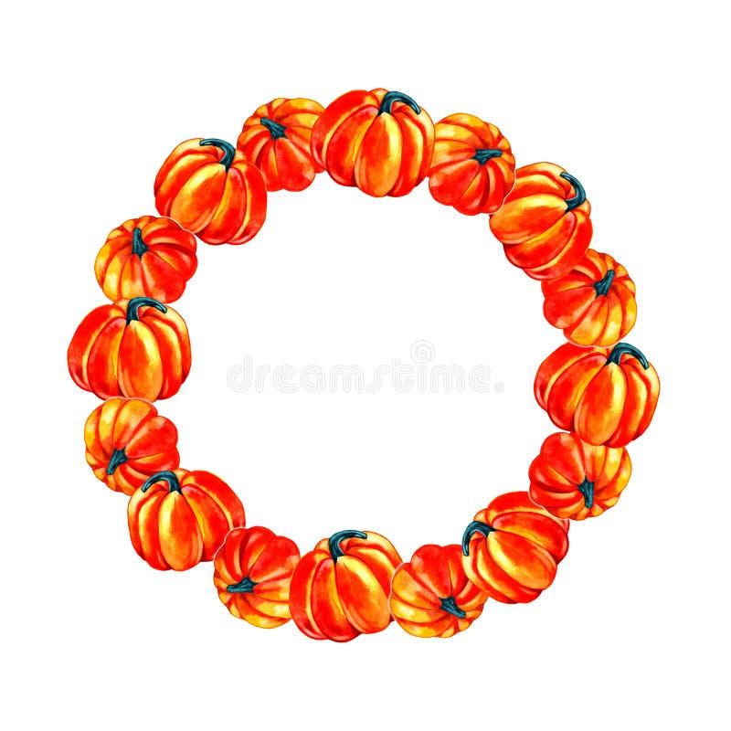Höstbakgrund: orange pumpa Digital attraktion, illustration i vattenfärgstil stock illustrationer