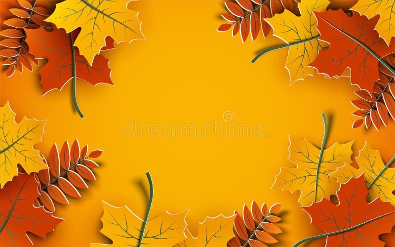 Höstbakgrund, trädpapperssidor, gul bakgrund, design för banret för försäljning för nedgångsäsong, affisch, kort för tacksägelsed royaltyfri illustrationer
