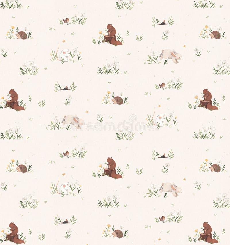 Höstbakgrunder med ekorrar och ett piggsvin omges av gräs royaltyfri illustrationer